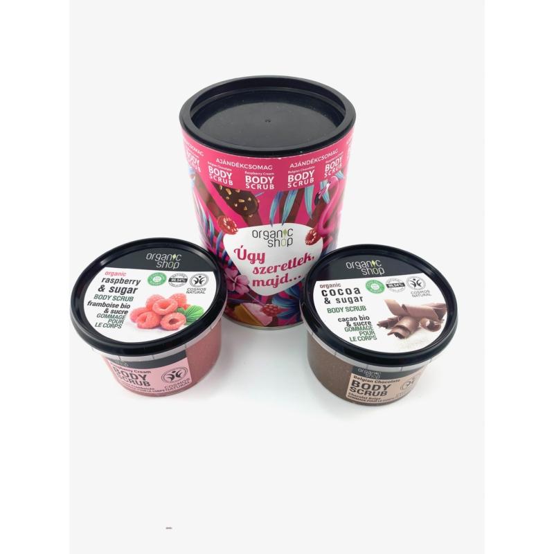 Organic shop Úgy szeretlek, majd...: Belga csoki testradír + málnakrém testradír