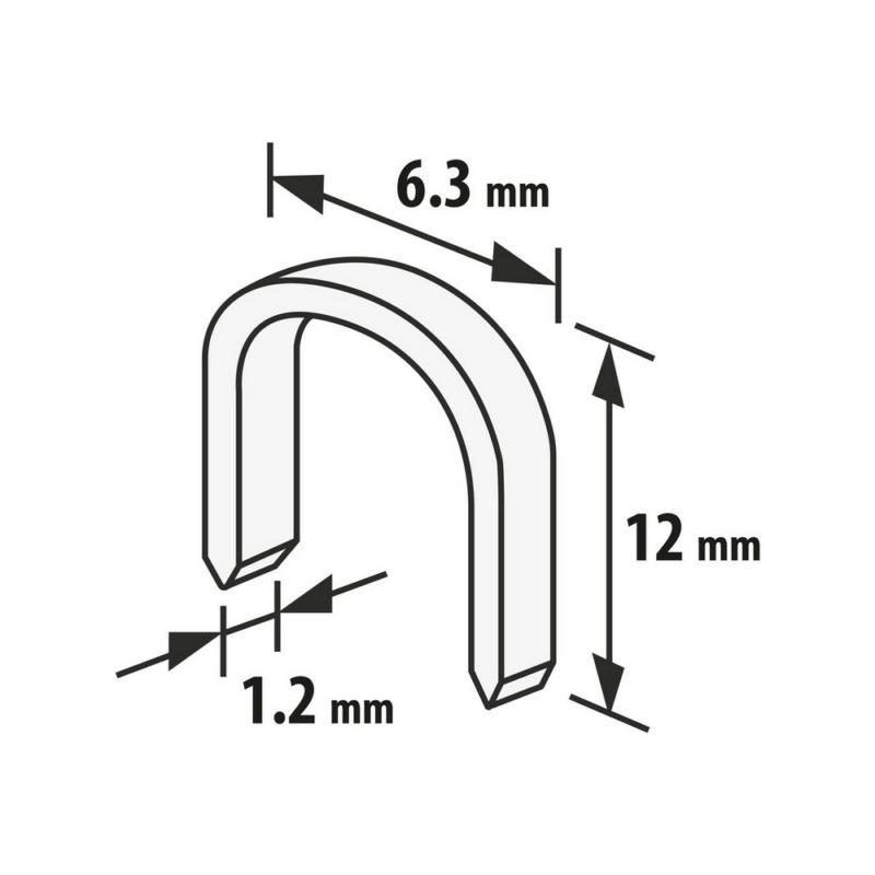 Tűzőkapocs - 1,2 x 6,3 x 12 mm - 1000 db