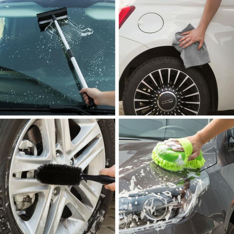 Autóápolási csomag - mikroszálas kendő, szivacs, felnitiszító és vízlehúzó